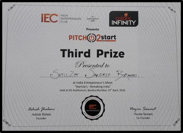 Skillzot Pitch2Start Certificate